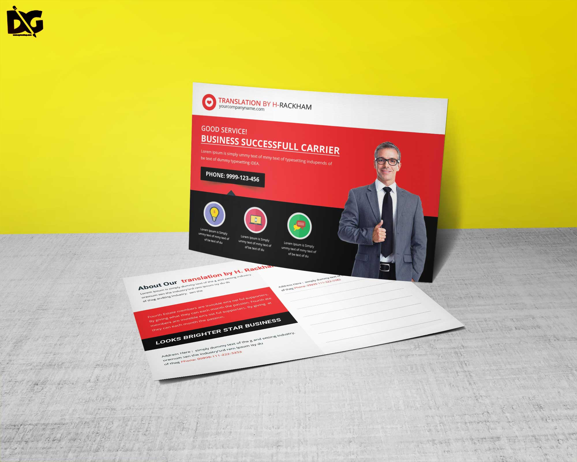 Free Translator Service Postcard Template