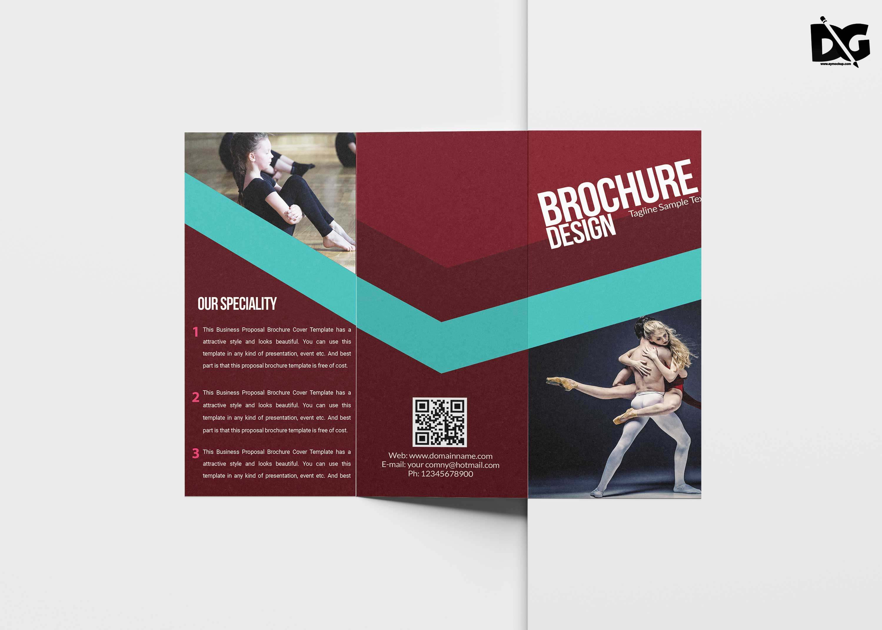 Free Tri-Fold Dancing Coaching Brochure Template