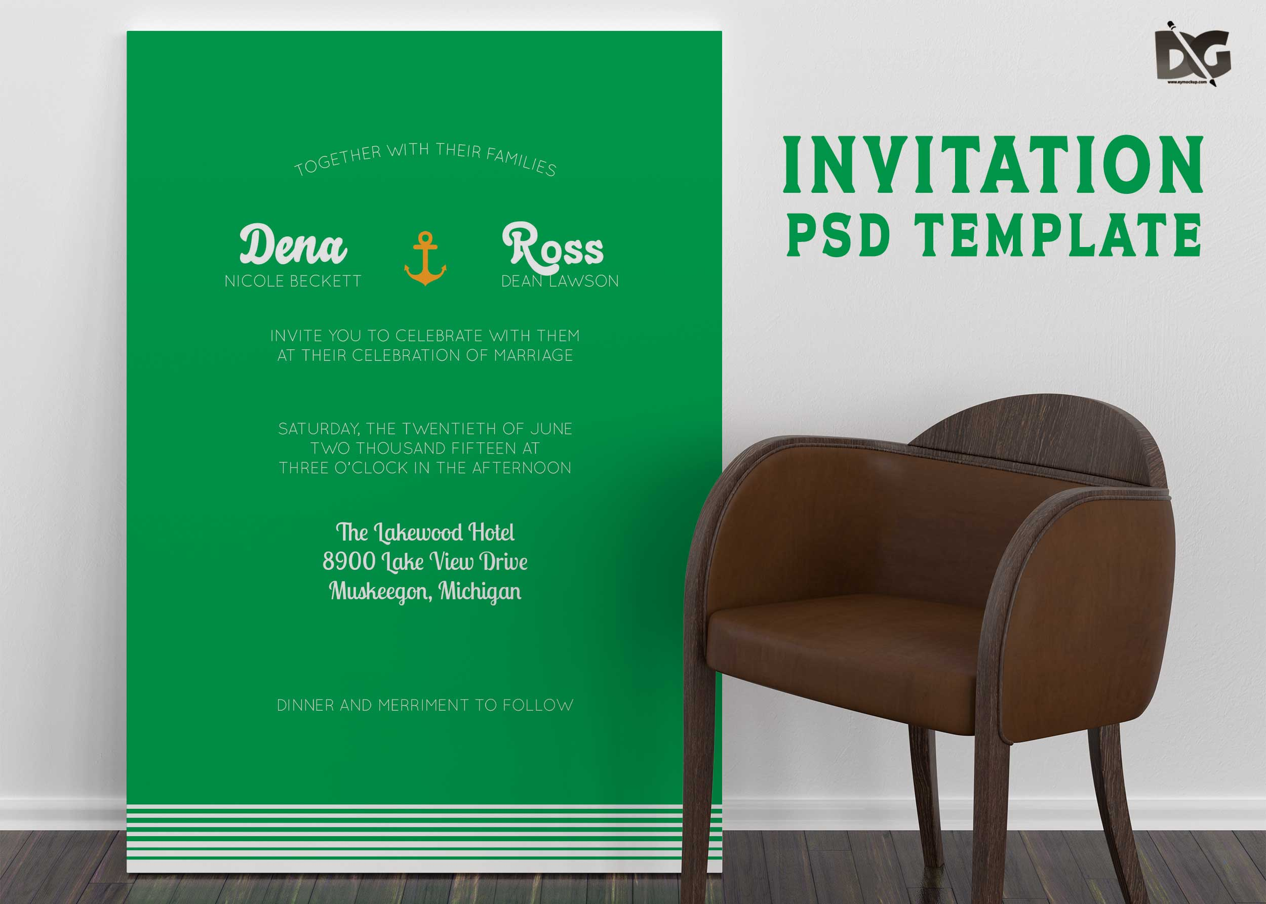 Free Wedding Invitation PSD graphics