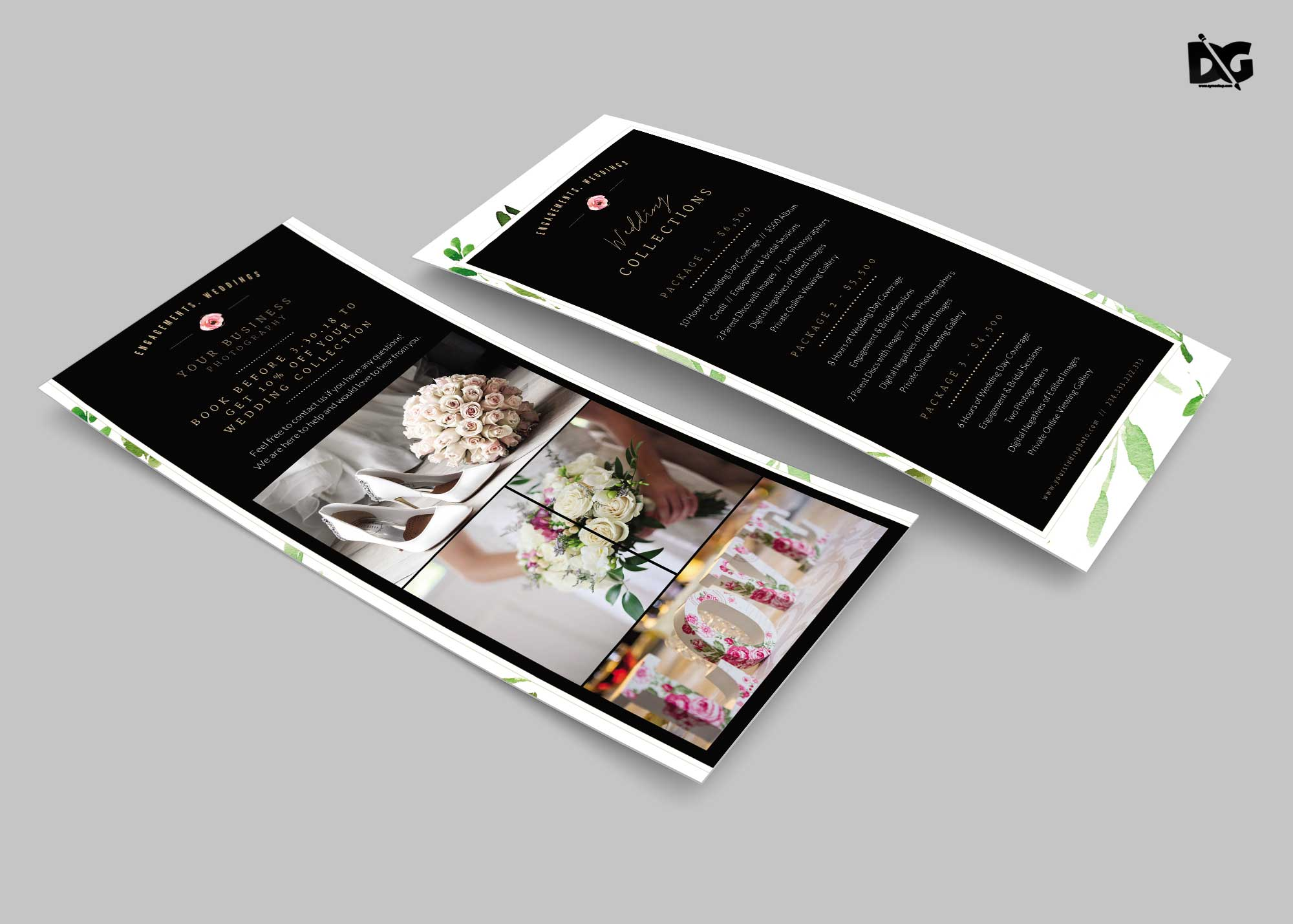 Free Wedding Rack Card Design PSD Template