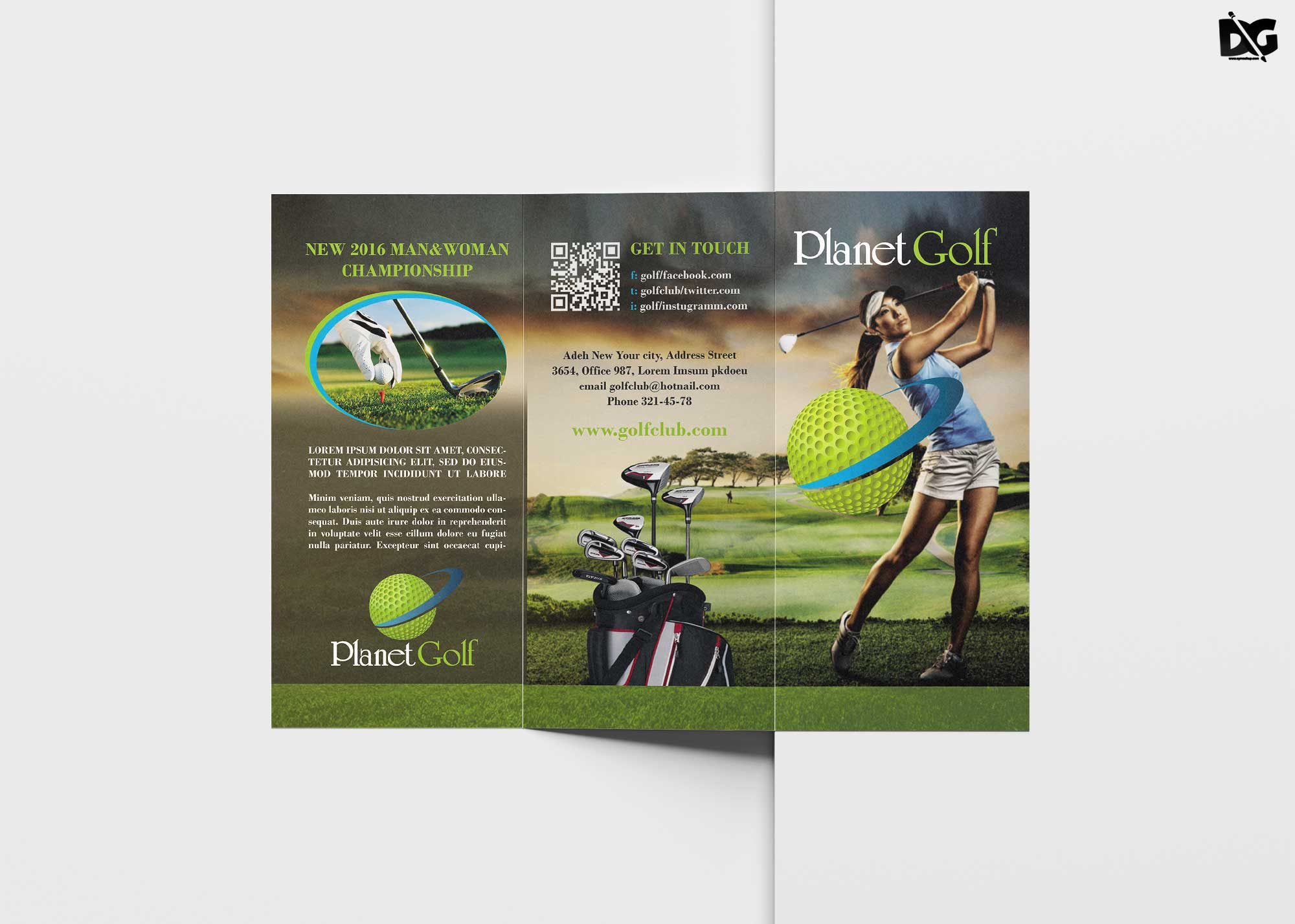 Golf Cart Tri-Fold Brochure Template