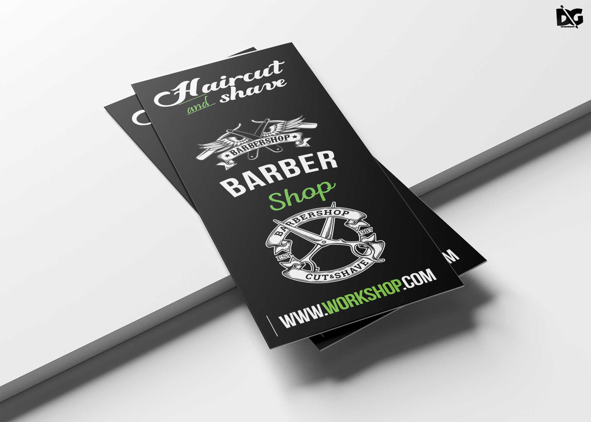 Free Download Premium Barber Tri-Fold Brochure Template