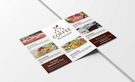 Free Cafe Coffee Tri-Fold Brochure PSD Template