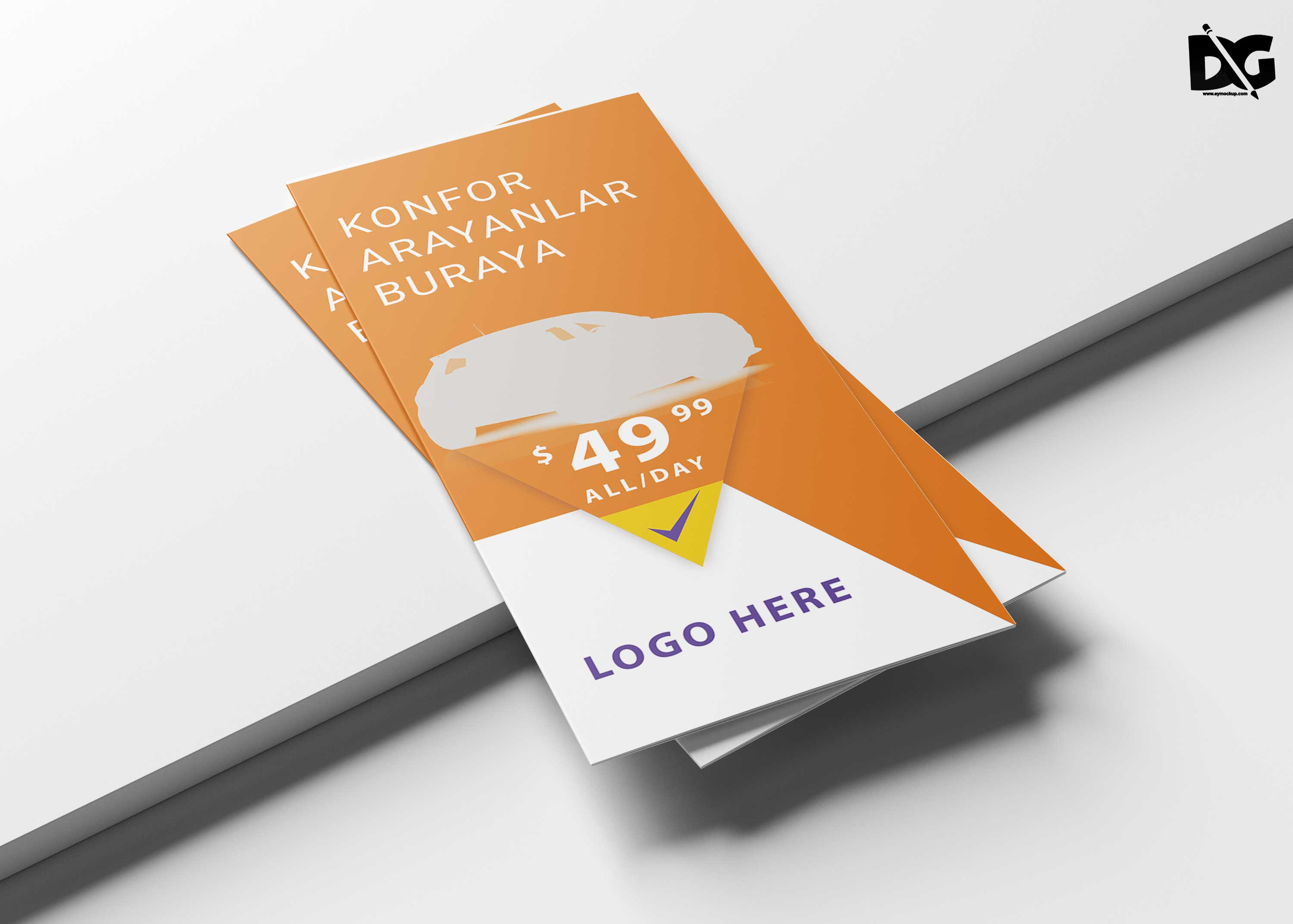 Free Rent a Car Tri-Fold Brochure Templates