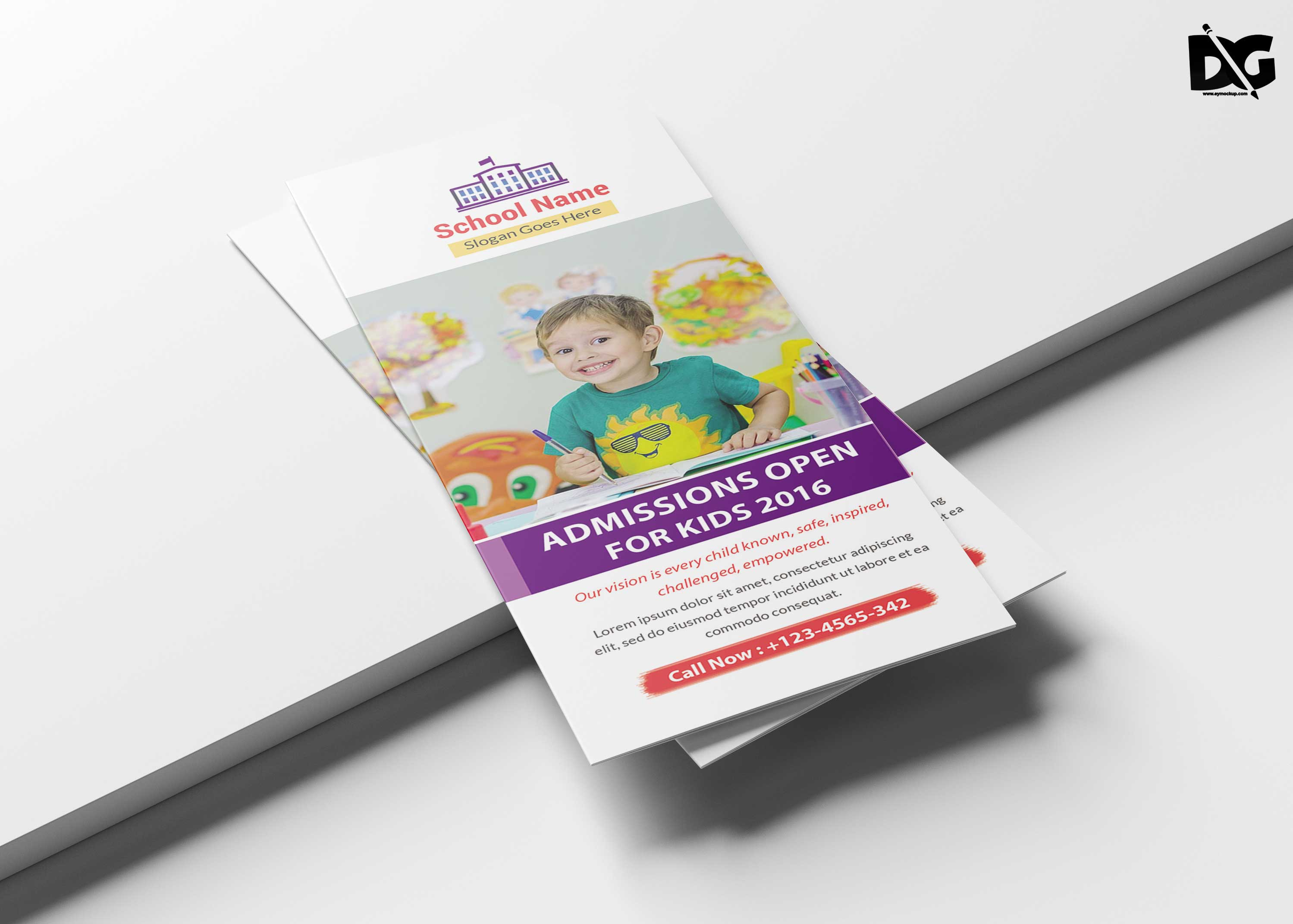 Free Download PSD School Tri-Fold Brochure Template