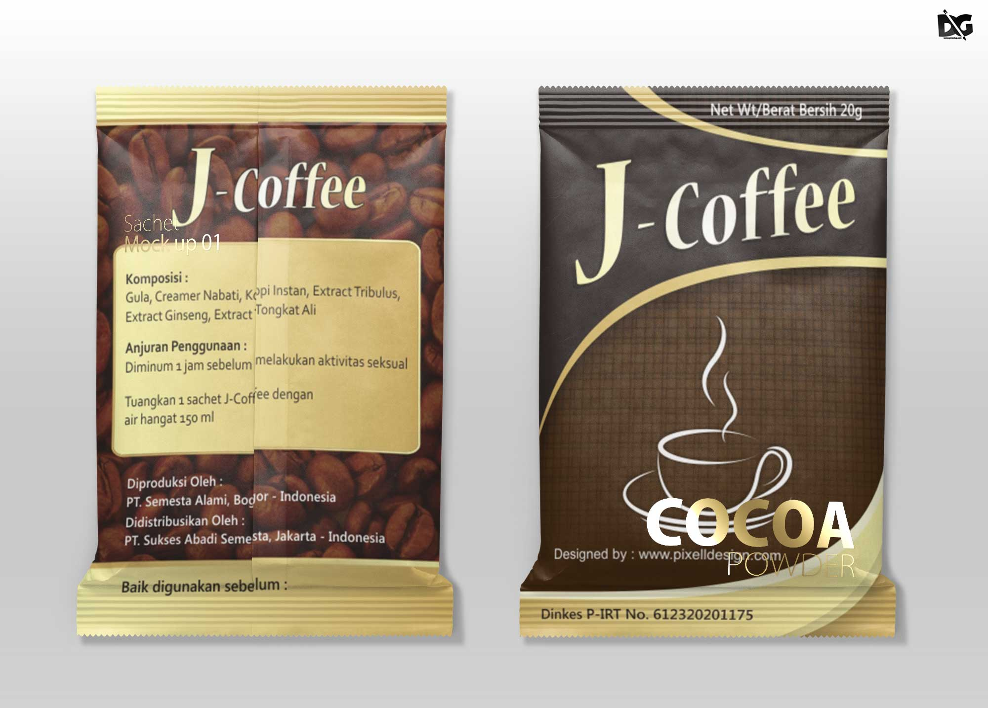 Free Cocoa Pouch Packaging Mockup