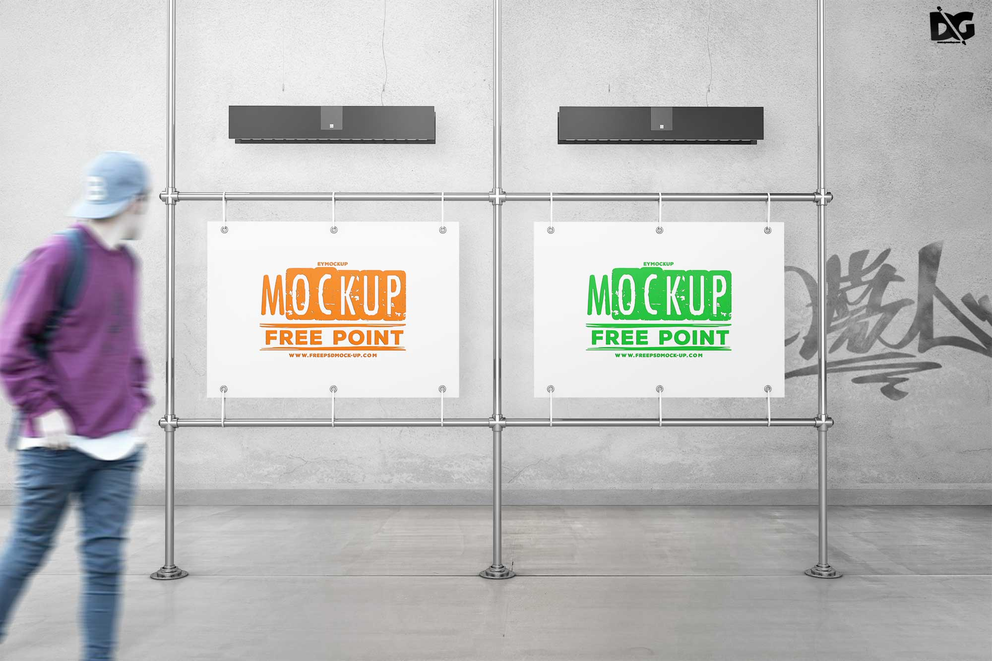 Free Bus Stand Mockup
