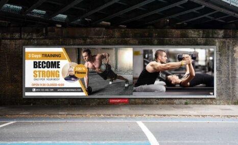 New Free Gym Advertisement PSD Billboard Mockup