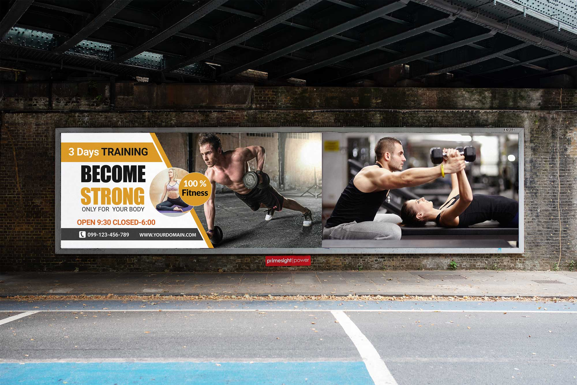 New Free Gym Advertisement PSD Billboard Mockup