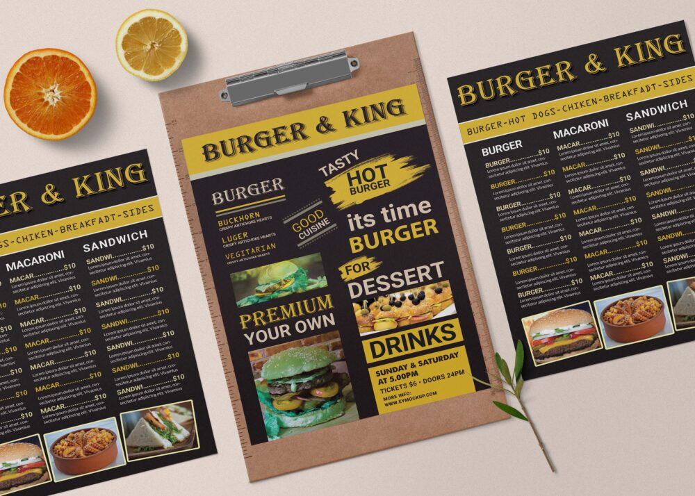 Premium Burger King Menu A4 PSD Template