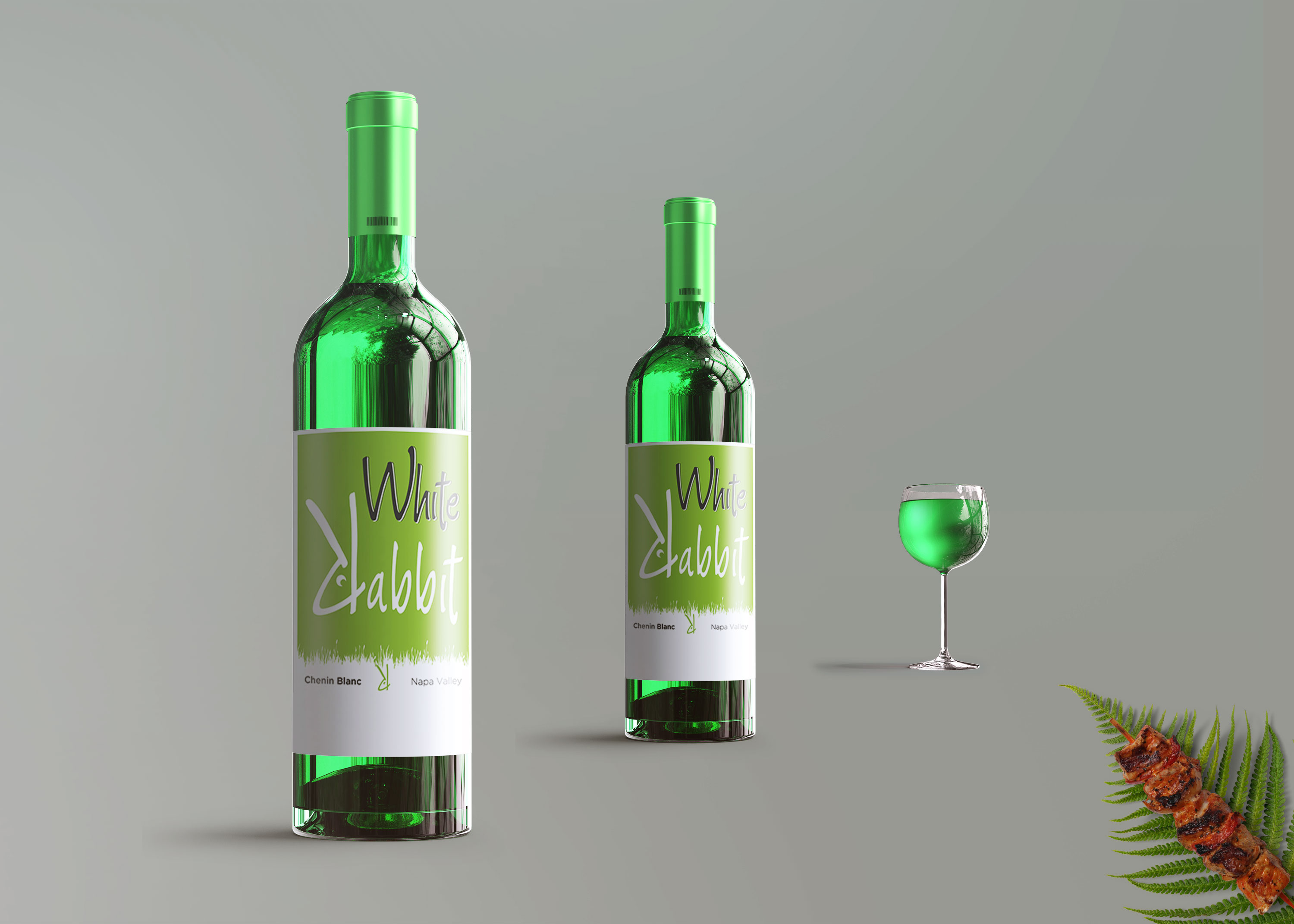 Glass Wine Bottles Label Mockup