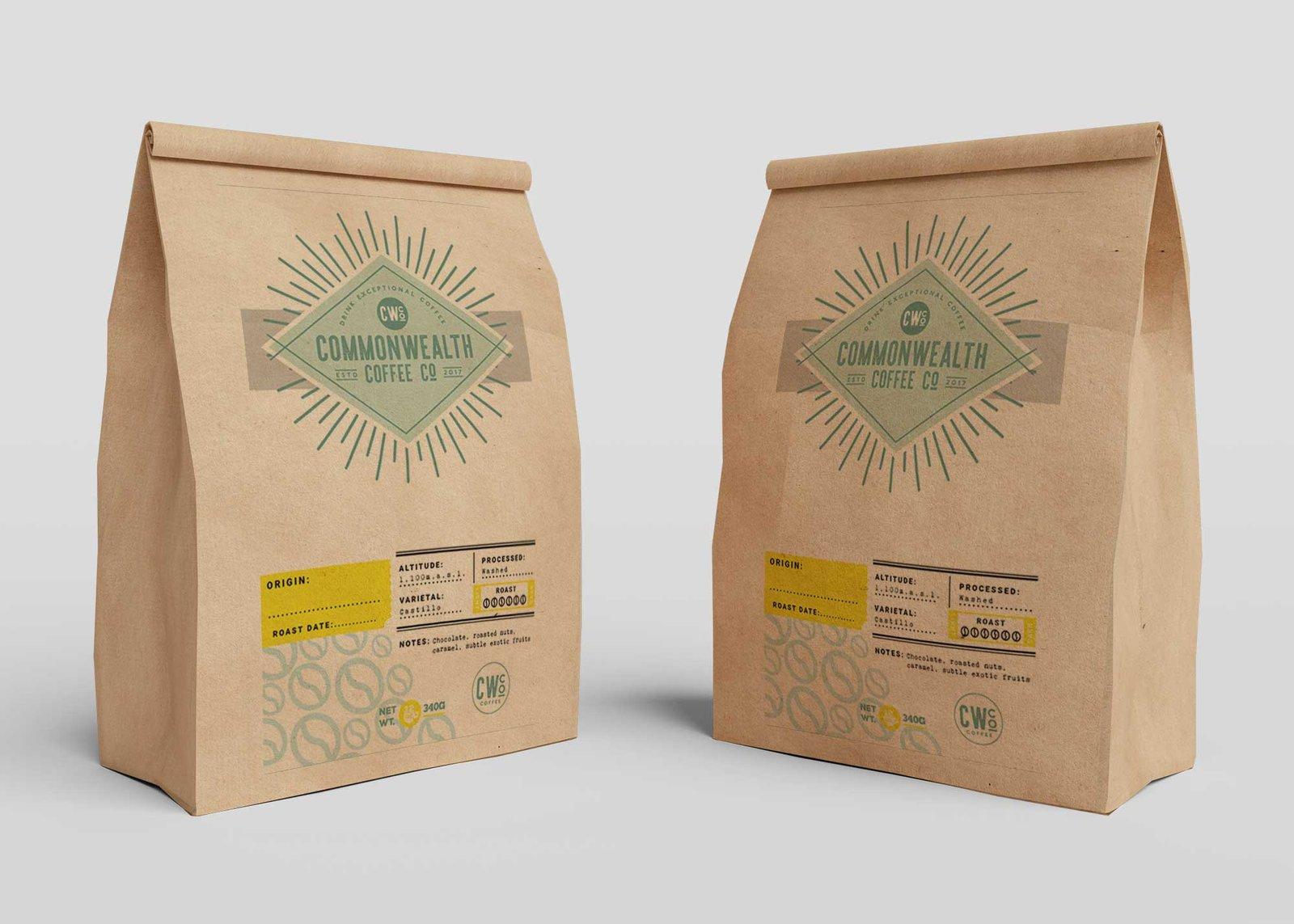 Green Coffee Paper Bag Mockup