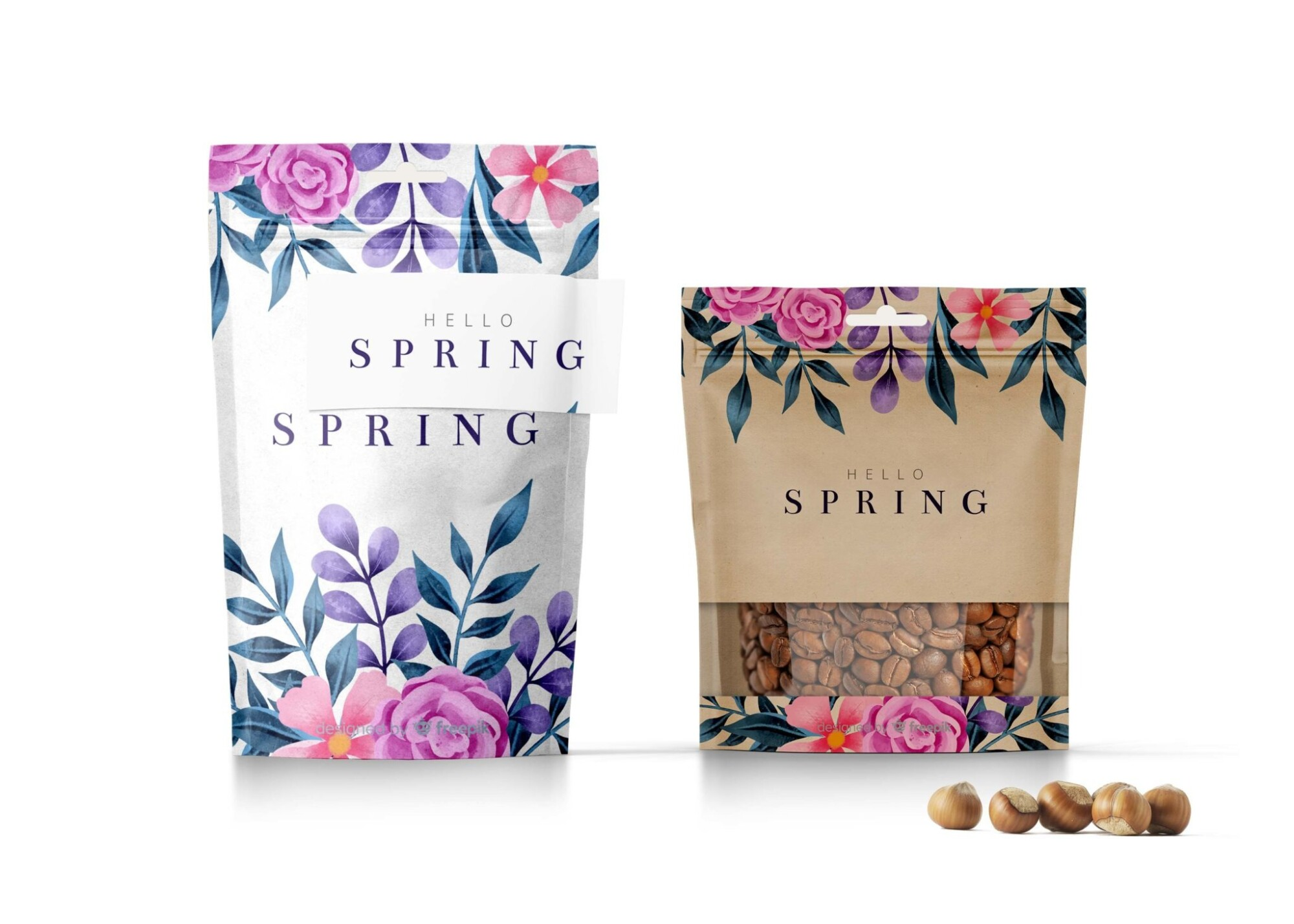 Spring Stand up Pouch Mockup