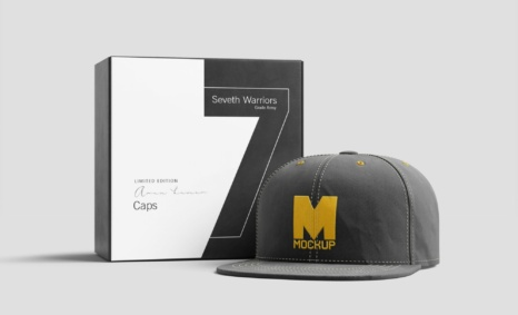 Cap With Packaging Mockup