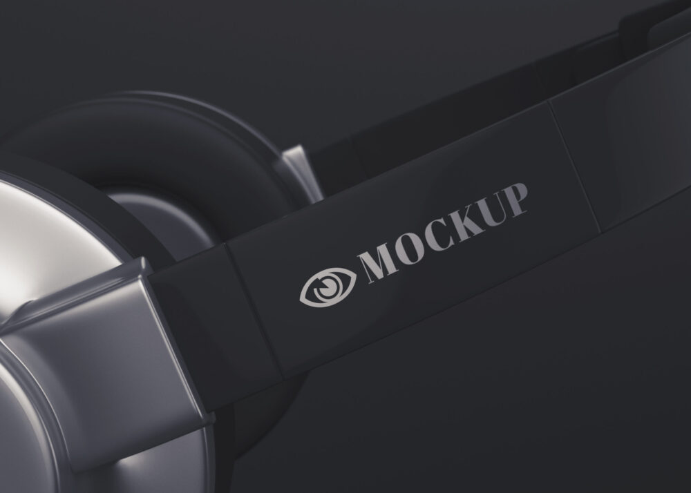 Black Headphone Logo Mockup