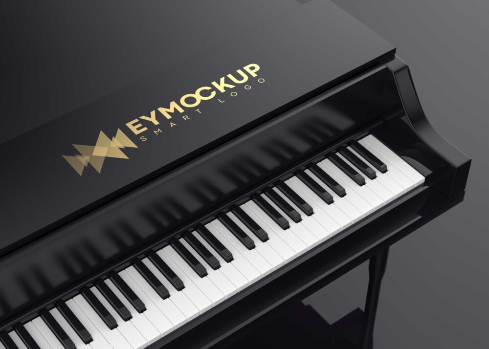 Black Piano Logo Mockup