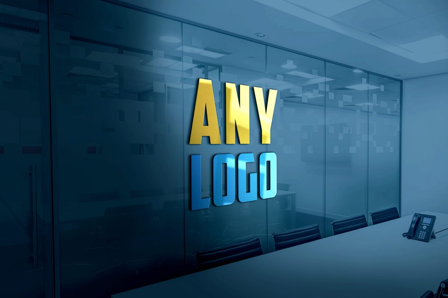 3D Logo Mockup Over Plain Glass