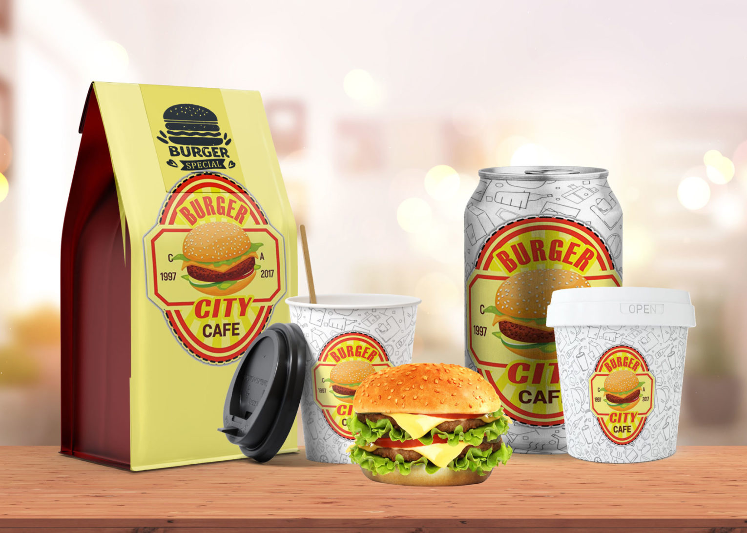 City Cafe Burger Special Packaging Combo Mockup