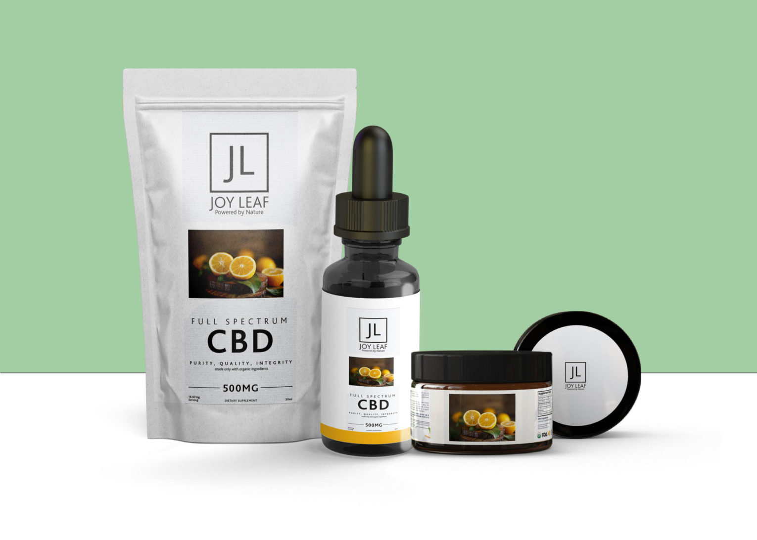 Full Spectrum CBD Products Combo Packaging Mockupi