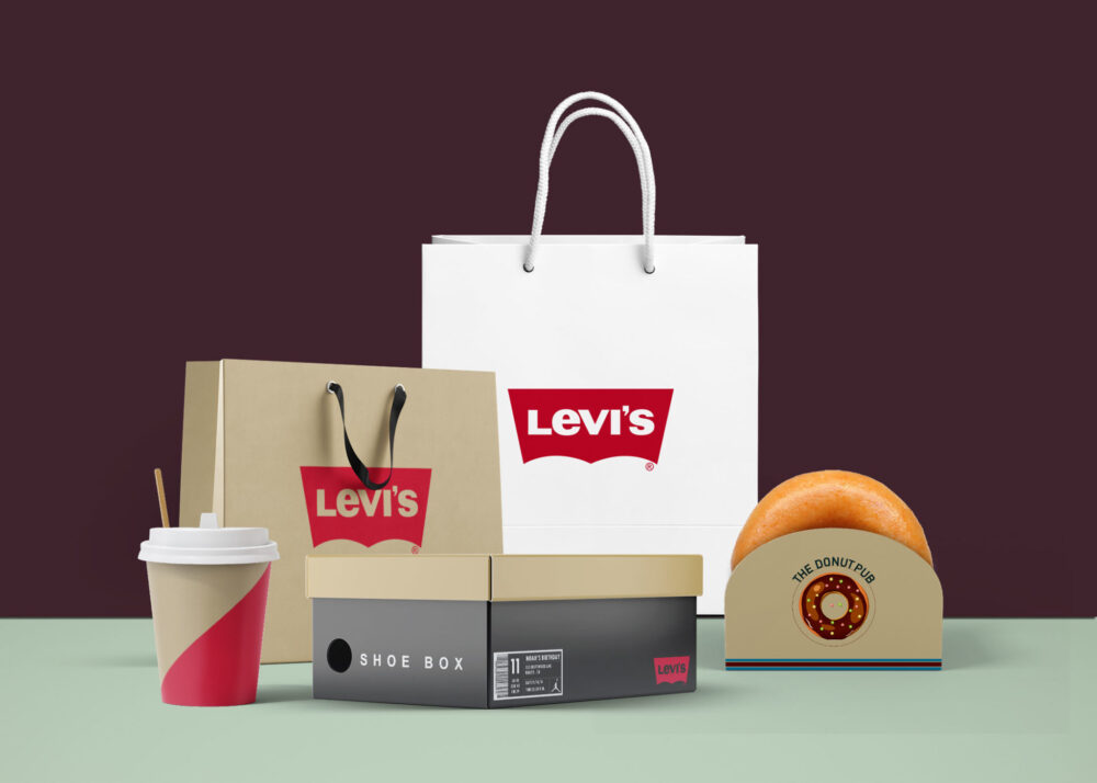 Branded Levis paper Shopping Products Combo Mockup