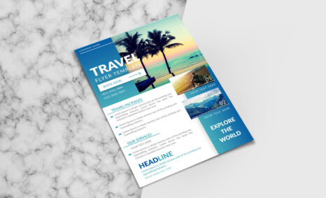 Professional Travel Flyer Template Mockup
