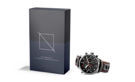 Attractive Men Black Watch Box Packaging mockup Collection