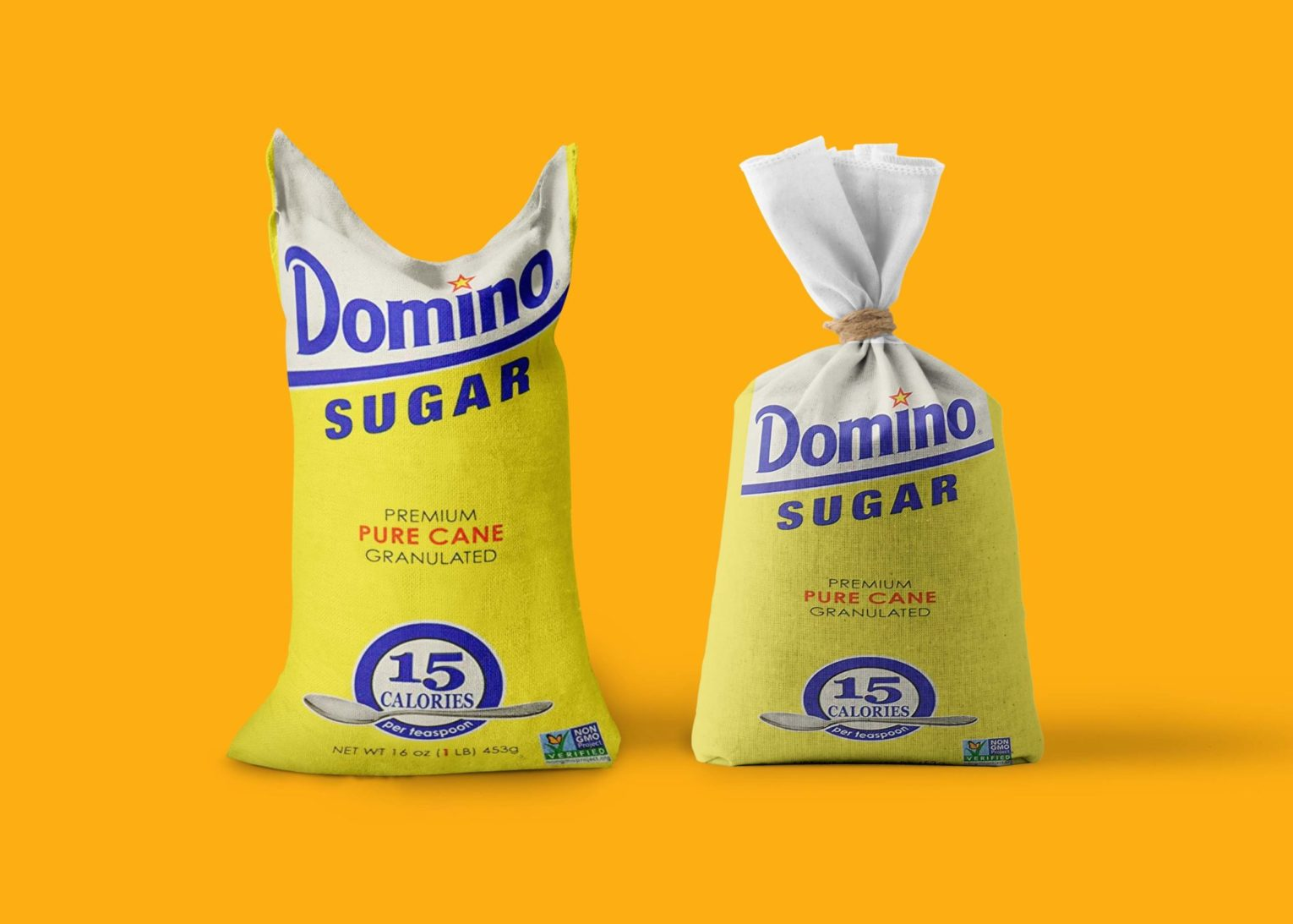 Vivid sugar sack packaging mockup