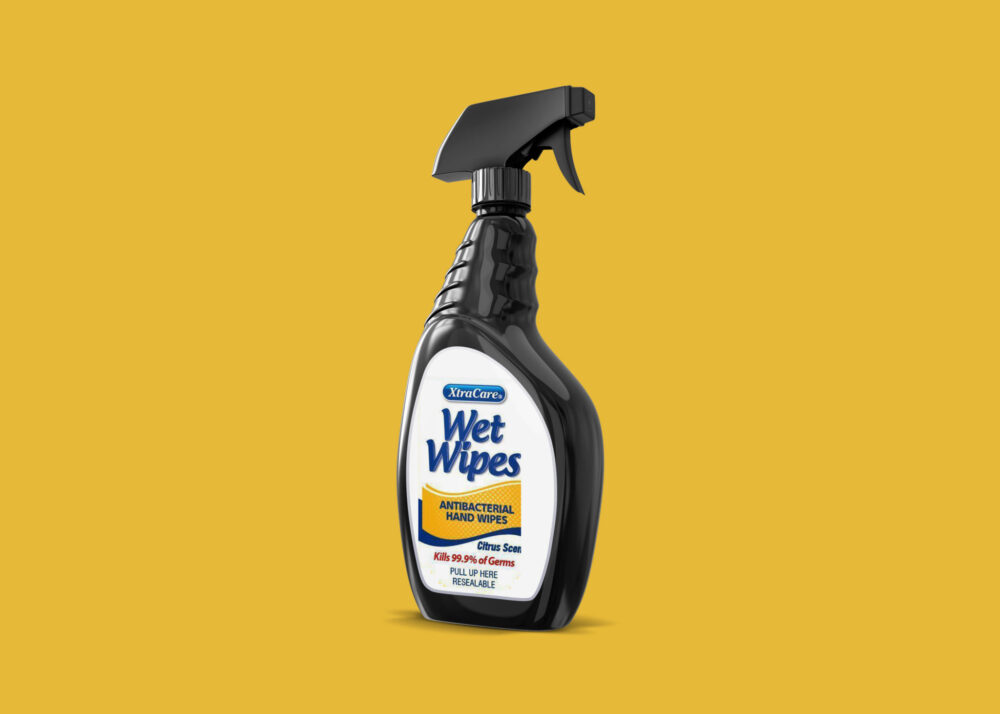 Wet Wipes Cleaning Spray Bottle Mockup Collection