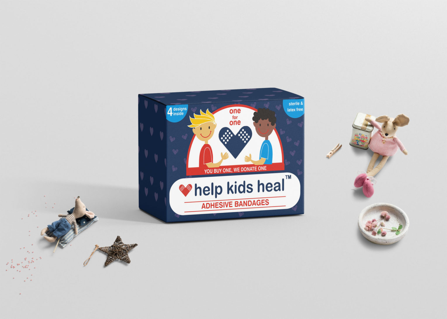 Kids Adhesive bandages Box packaging Mockup