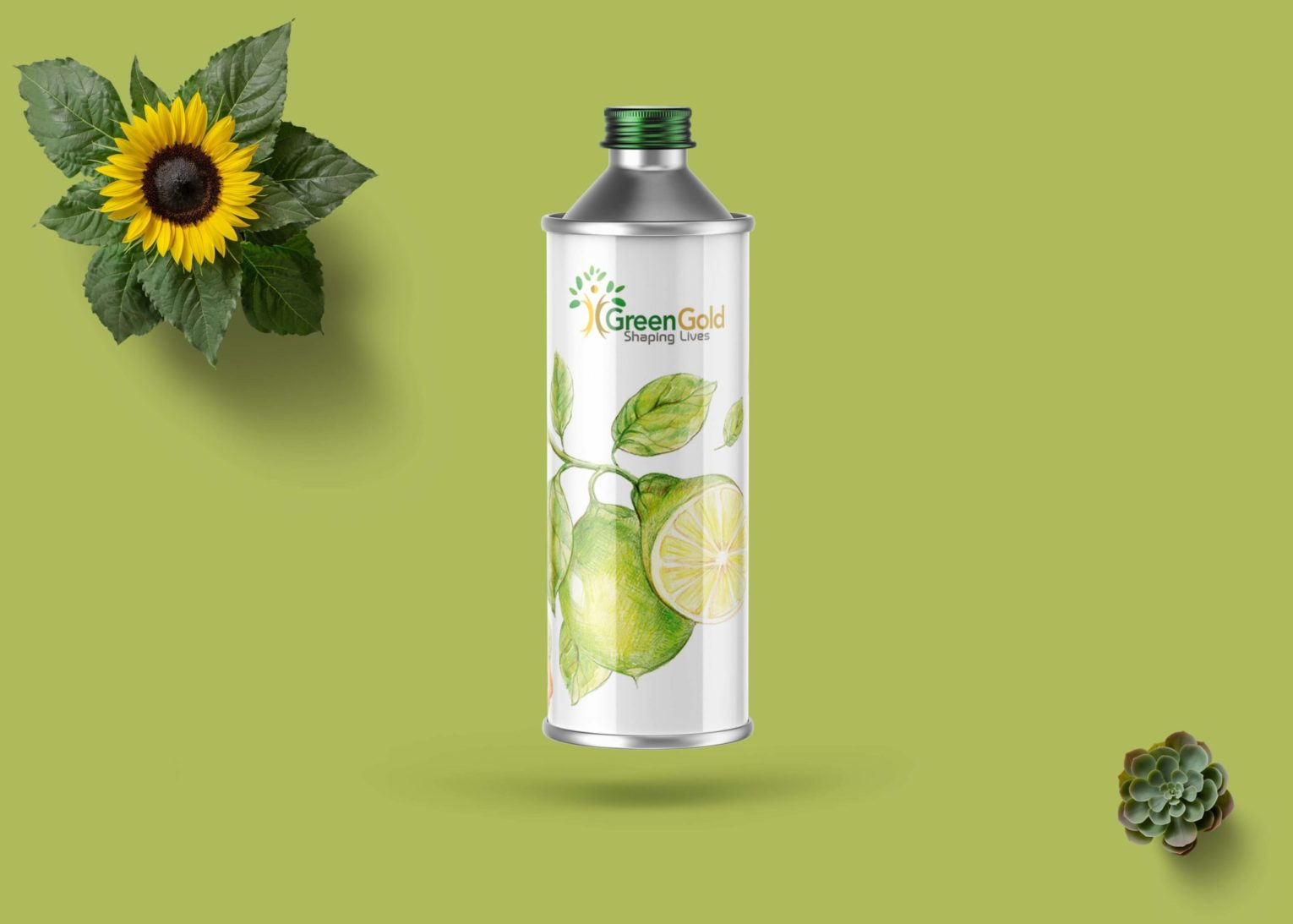 Stylisg Designer Green Tin Bottle Mockup