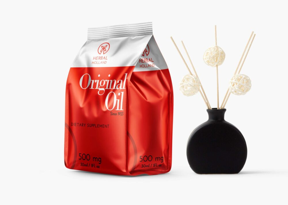 Herbal Original Oil Stand Up Pouch Mockup
