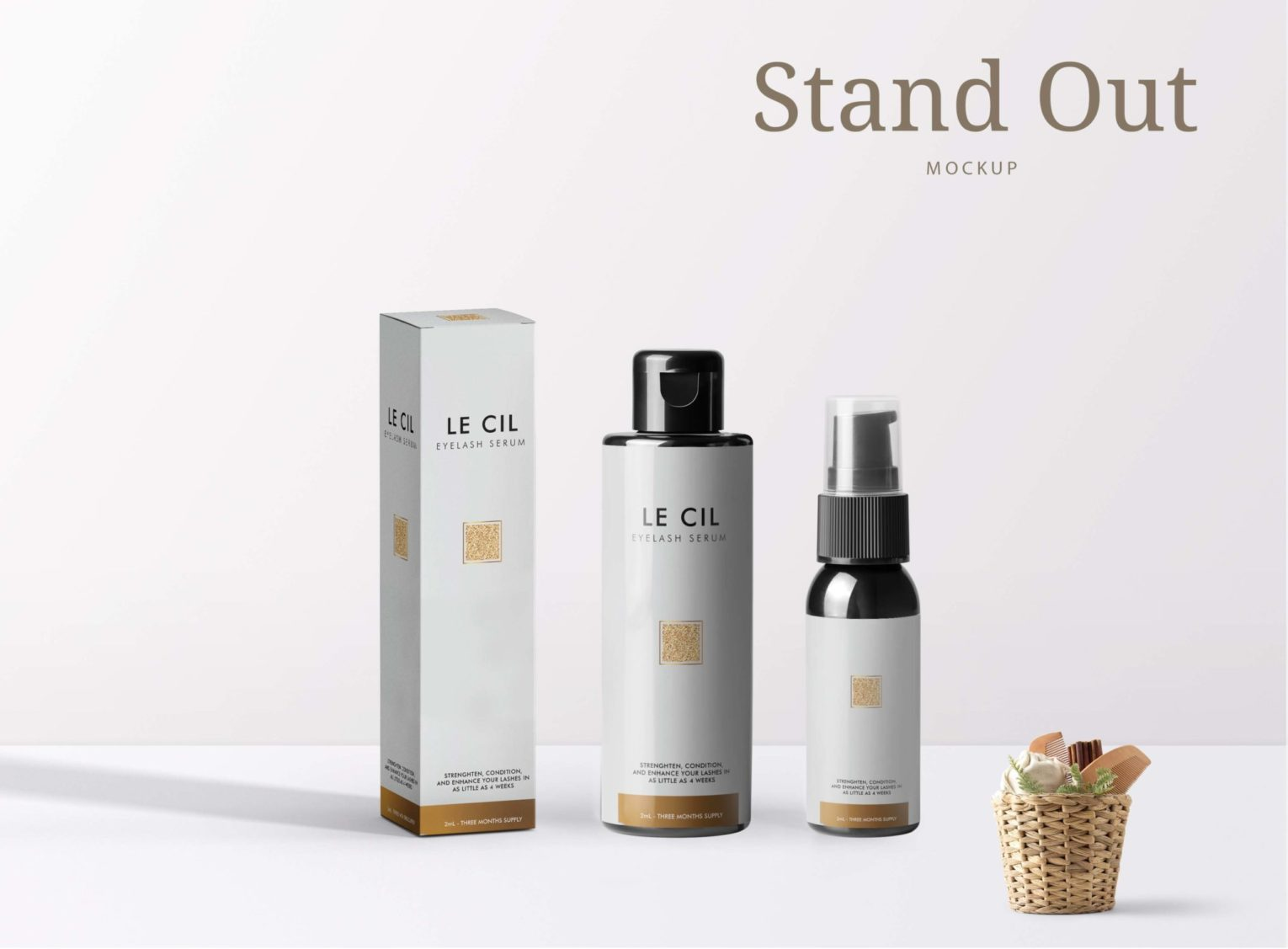 Best Stand Up Eye Lash Serum Bottle Packaging Mockup