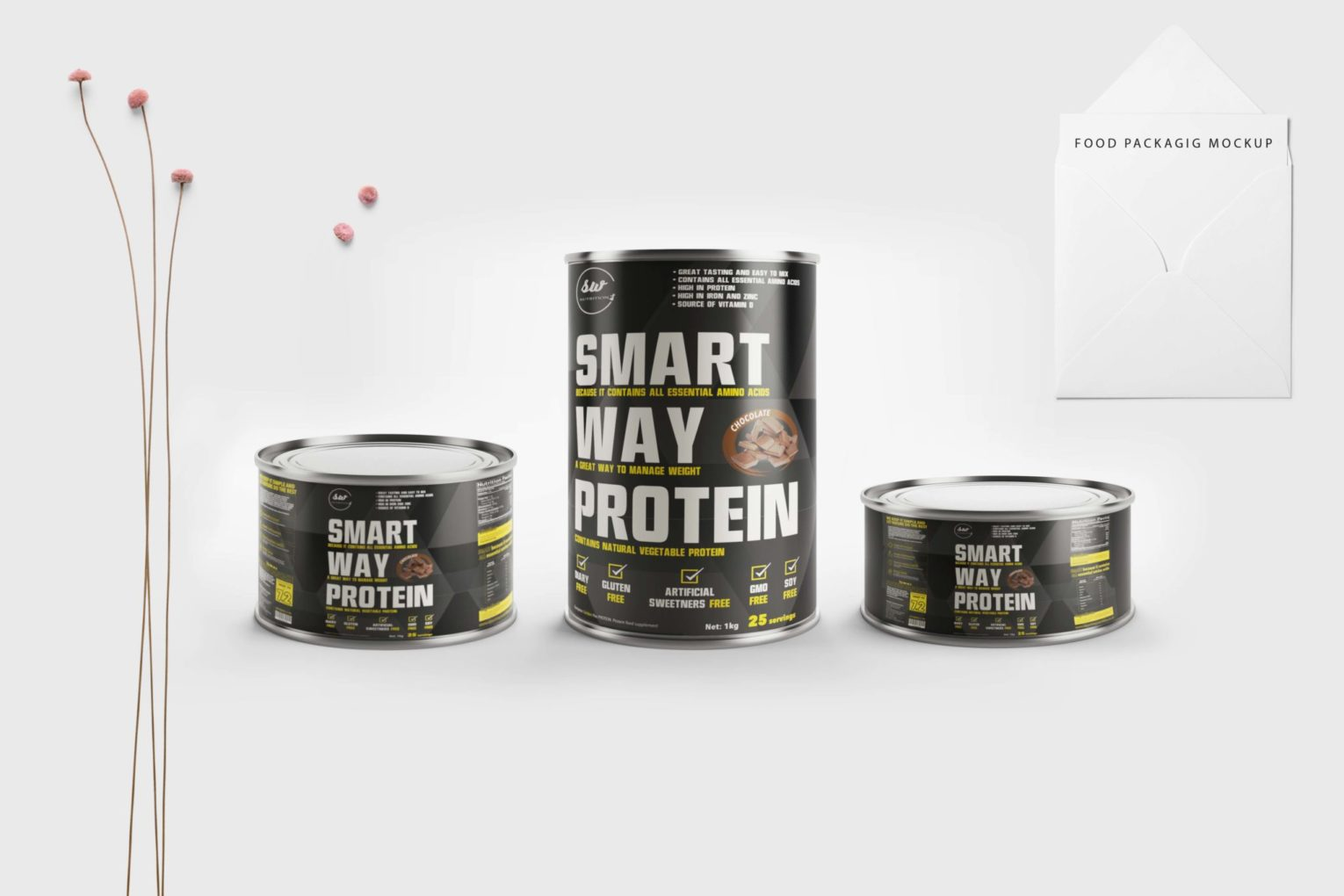 Smart Way Protein Supplement Packaging Mockup
