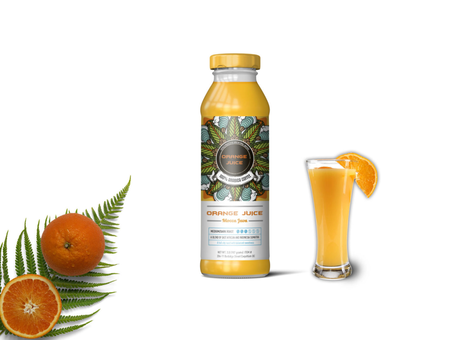 Natural Fresh Pure Orange juice Bottle Mockup