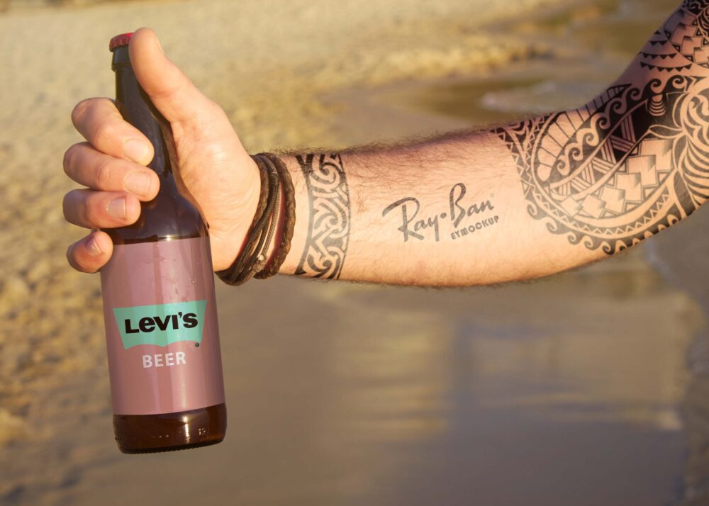 Free Beach Beer Tattoo Logo Mockup