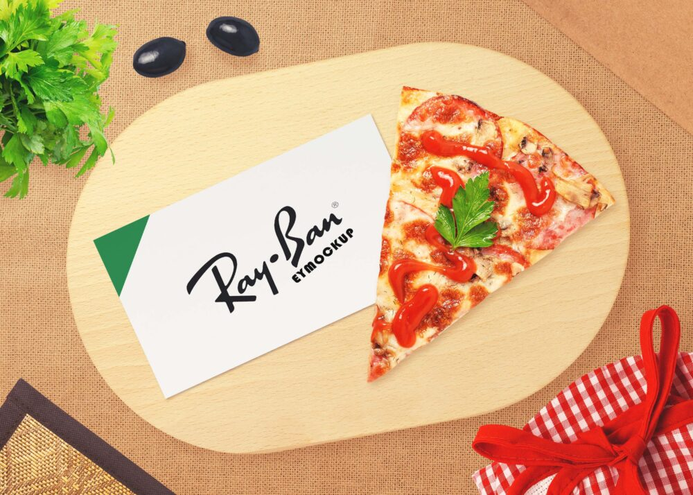 Free Card Pizza Logo Mockup