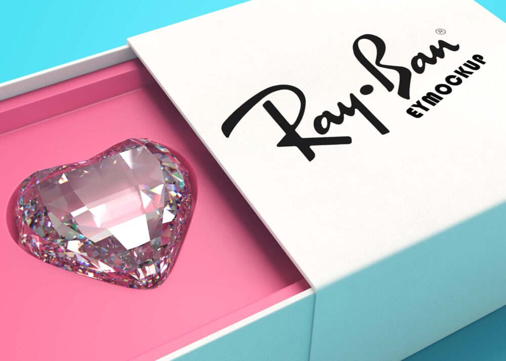Free Diamond Heart Box Mockup