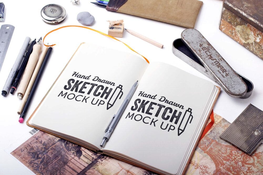 Free Drawing Sketchbook Mockup