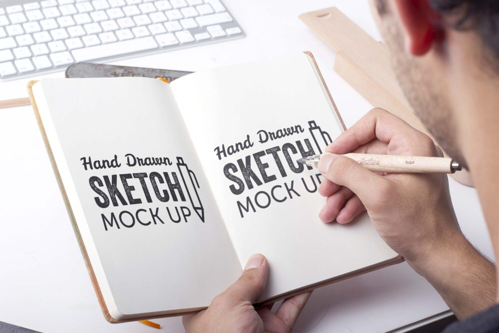 Free Hand Drawing Sketch Mockup