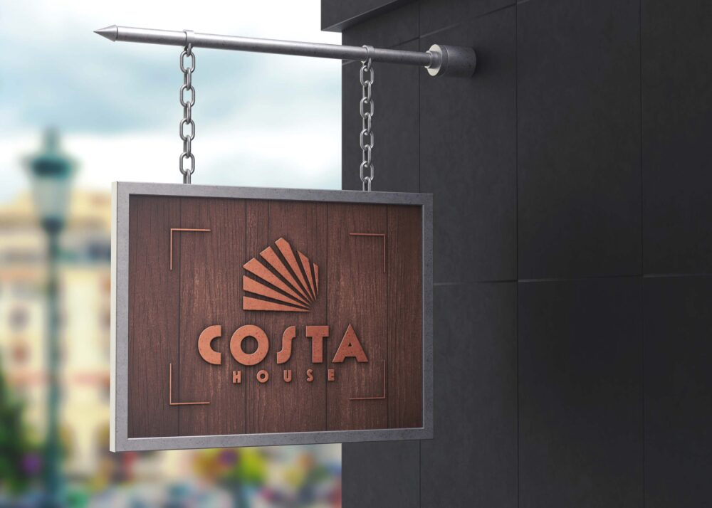 Free Hanging Wall Business Logo Mockup