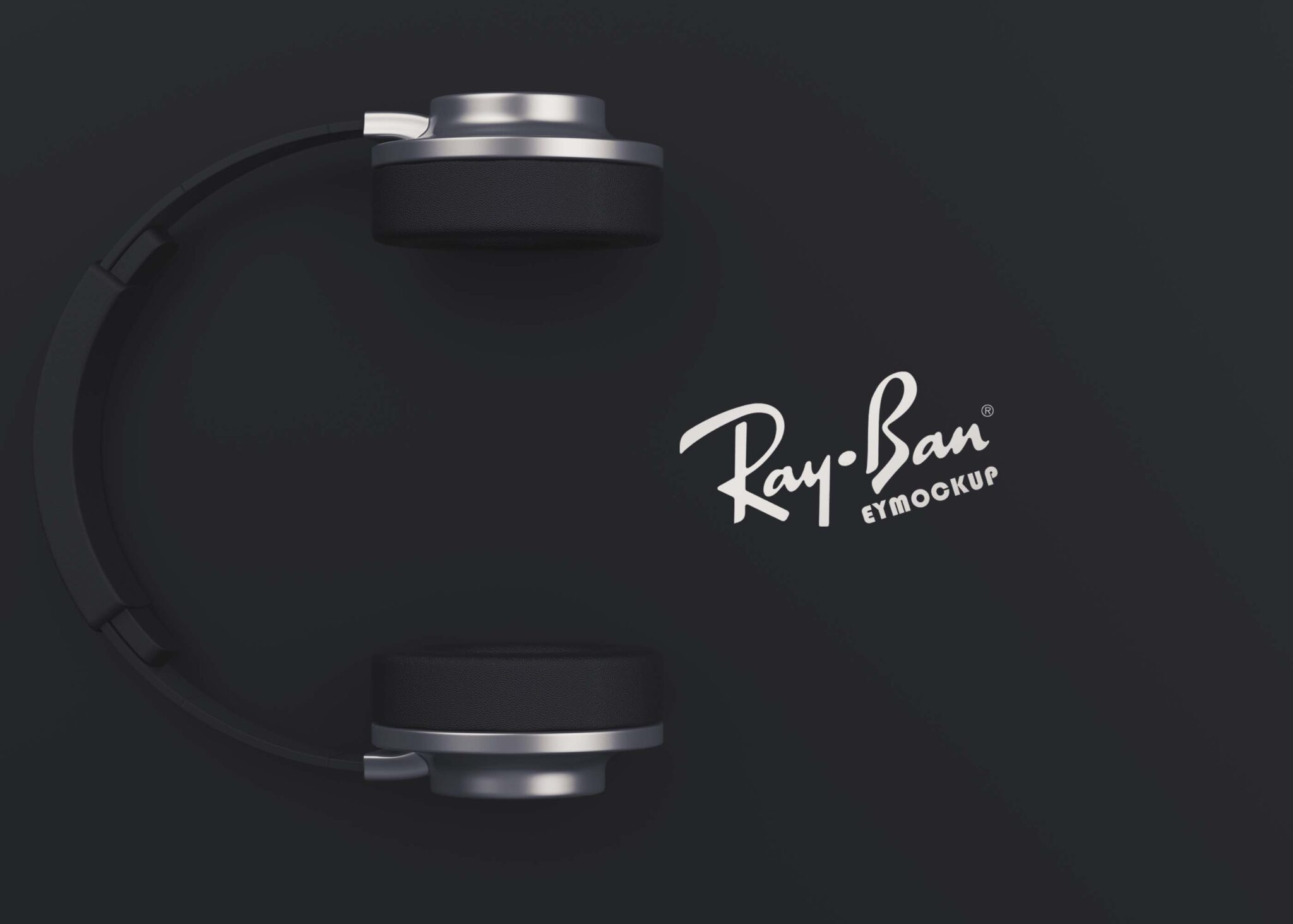 Black Headphone Branding Mockup