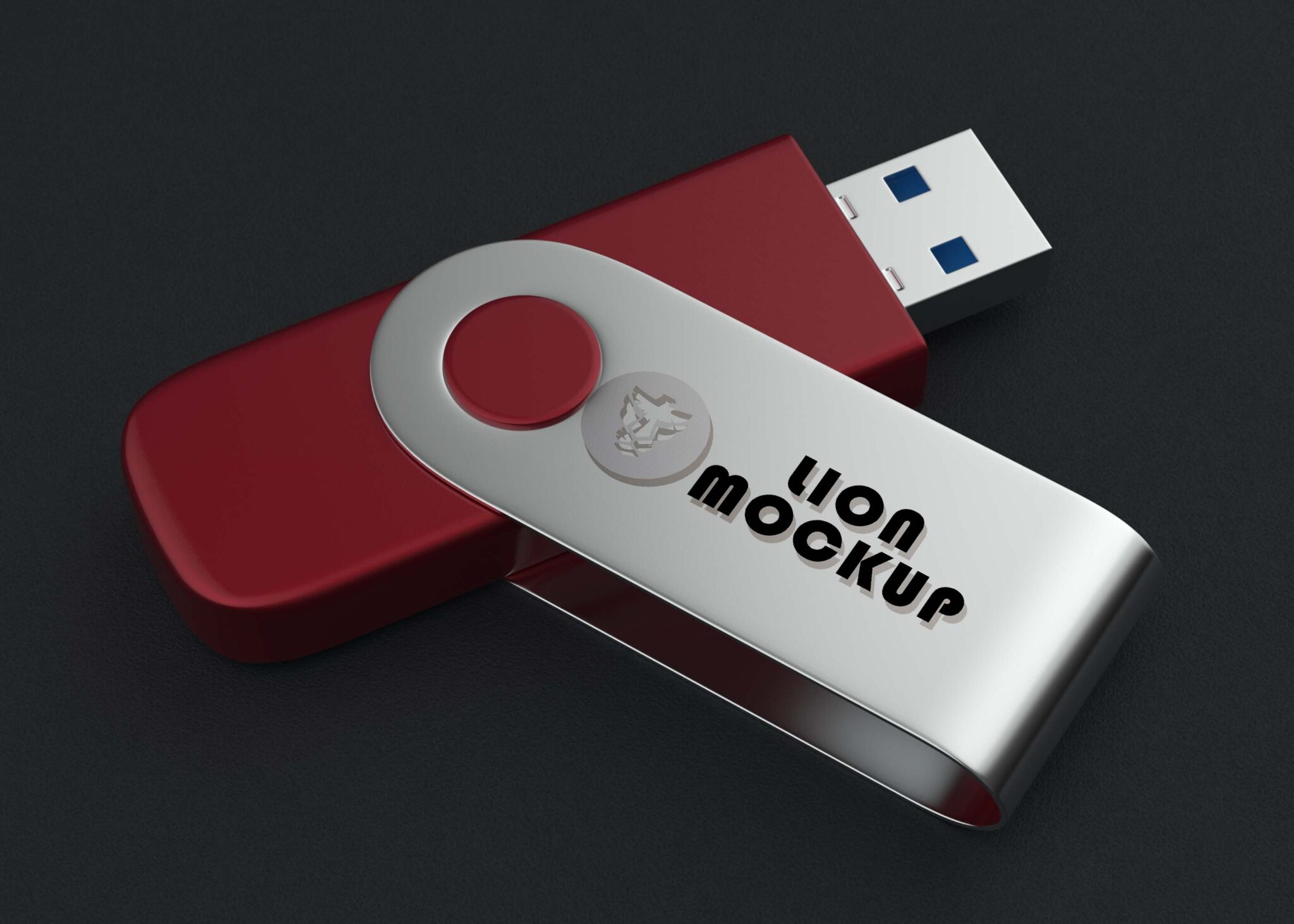 Free Brand USB Flash Drive Mockup