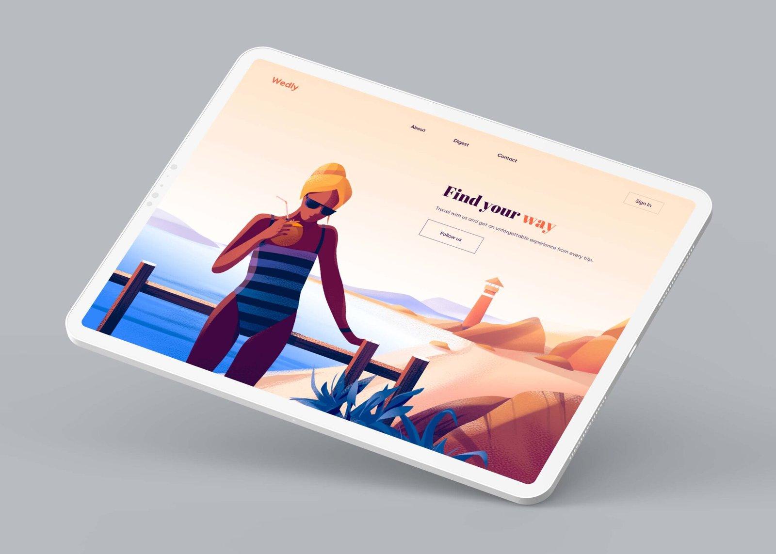 Free Floating iPad Pro Mockup
