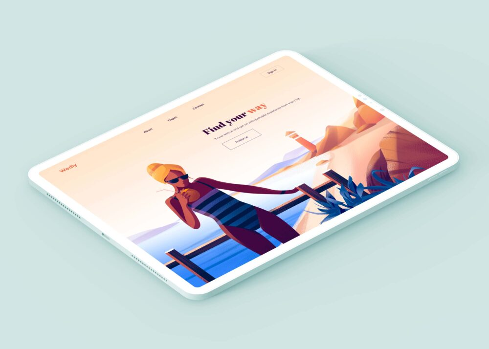 Free Isometric view ipad Mockup