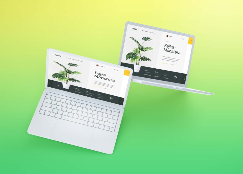 Free Hovering Macbook Laptops 3D Mockup
